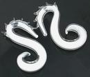 Painful Pleasures P312-pair 2g-0g-00g SEA HORSE Milk White Transliquid Glass Jewelry - Price Per 2