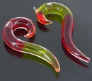 Painful Pleasures P319-pair 2g-0g-00g Transliquid Yellow/Red DROP Glass Jewelry - Price Per 2