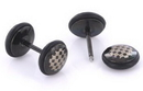 Painful Pleasures P344 CHECKERS on Black Fake Illusion Piercing Plug - 16g thin post - Price Per 1