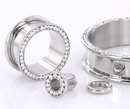 Painful Pleasures P358 Crystal CZ Stones Threaded Tunnel - 4mm - 46mm - Price Per 1