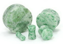 """Painful Pleasures P399 GREEN MARBLE Stone Double Flare Plugs 10g - 1"""" - Price Per 1"""