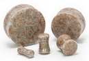 "Painful Pleasures P406 SPOT AGATE Stone Double Flare Plugs 10g - 1"" - Price Per 1"