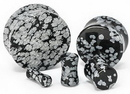 """Painful Pleasures P407 OBSIDIAN SNOWFLAKE Stone Double Flare Plugs 10g - 1"""" - Price Per 1"""