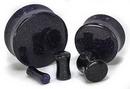 Painful Pleasures P409 Blue Goldstone Glass Double Flare Plugs - Price Per 1
