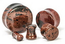 """Painful Pleasures P412 Mahogany Obsidian STONE Double Flare Plugs 10g - 1"""" - Price Per 1"""