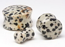 "Painful Pleasures P422 JASPER Dalmatian Stone Double Flare Plugs 10g - 1"" - Price Per 1"