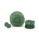 Painful Pleasures P511 Green Aventurine Stone Plug with Carved Rose Front - 2g to 1'' - Price Per 1