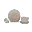 Painful Pleasures P512 Opal Stone Plug with Carved Rose Front - 2g to 1'' - Price Per 1
