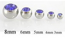 Painful Pleasures RES154-14g-ext-gem Jeweled Gem Replacement Ball for Externally Threaded Jewelry 14-12g-10g-8g