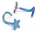 Painful Pleasures SNS024-star-titanium 18g Titanium Plated Star Nose Screw