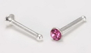 Painful Pleasures SNS135 20g Sterling Silver Pink Jewel Nose Bone Jewelry - Price Per 1