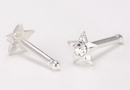 Painful Pleasures SNS137 20g Sterling Silver Crystal Star Nose Bone Jewelry - Price Per 1