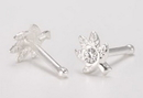 Painful Pleasures SNS141 20g Sterling Silver Crystal Pot Leaf Nose Bone Jewelry - Price Per 1