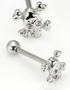 Painful Pleasures UB116 14g 5/8'' Steel Casted Skull-n-Crossbones Straight Barbell