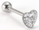Painful Pleasures UB146 14g 5/8'' Steel Casted Jeweled Heart Straight Barbell