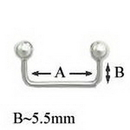 Painful Pleasures UB180 12g 90° Stainless Steel Surface Barbell