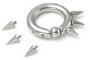 Painful Pleasures UR136 10g, 8g, or 6g Spiked Stainless Steel Captive Bead Ring