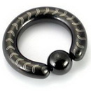 Painful Pleasures UR173-UR176 10g-4g Black Titanium-Coated Stainless Steel Captive Ring with Arrows