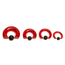 Painful Pleasures UR457 8g-00g Red Vampire End Glass Captive Bead Ring with Black Silicone Ball