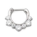 Painful Pleasures UR562 16g Seven Crystal Jeweled Steel Septum Clicker - Price Per 1
