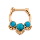 Painful Pleasures UR567 16g Trinity Turquoise Stone PVD Gold Septum Clicker