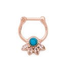Painful Pleasures UR568 16g Turquoise Jeweled Lotus PVD Rose Gold Septum Clicker