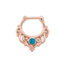 Painful Pleasures UR570 16g Turquoise PVD Rose Gold Septum Clicker