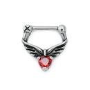 Painful Pleasures UR587 16g Fairy Wings Heart Steel Septum Clicker