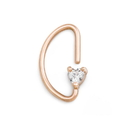 Painful Pleasures UR615 16g PVD Rose Gold Heart Crystal Bendable D-Ring - Price Per 1