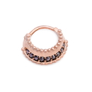Painful Pleasures UR648 16g PVD Rose Gold Black Jeweled Prominence Septum Clicker