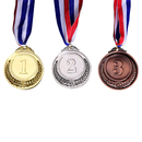 3 Pcs Award Medals Metal Gold Silver Bronze with Ribbon Class Medal 2 inches
