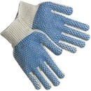 MCR Safety Regular-Weight PVC Coated String Knit Gloves, Dual-Sided Dots, Blue PVC Blocks, Large, Natural