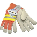 MCR Safety Luminator Thermosock Lined Pigskin Hi-Viz Gloves
