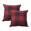 TOPTIE Set of 2 Buffalo Check Plaid Throw Pillow Covers, Square Decorative Cotton Linen Pillowcases