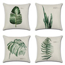 TOPTIE Set of 4 Green Leaf Throw Pillow Covers, 18