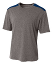 A4 N3100 Tourney Heather Short Sleeve Color Block Crew