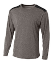 A4 N3101 Adult Tourney Heather Long Sleeve Color Block Crew