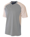 A4 N3315 Adult 2-Button Henley w/ Contrast Stretch Mesh