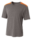 A4 NB3100 Youth Tourney Heather Short Sleeve Color Block Crew