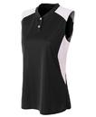 A4 NW3318 Women's 2 button Sleeveless Henley w/Contrast Stretch Mesh