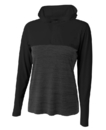 A4 NW4013 Women's The Slate Long Sleeve 1/4 Zip Color Block Hood