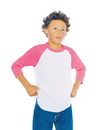 American Apparel BB253W Youth Poly-Cotton 3/4 Sleeve Raglan Tee