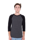 American Apparel BB453W Unisex Poly/Cotton 3/4 Sleeve Raglan Tee