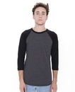 American Apparel BB453 Unisex USA Poly/Cotton 3/4 Sleeve Raglan Tee