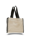 Q-Tees Q1100 Canvas Gusset Tote Bag with Colored Handles