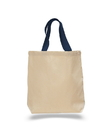 Q-Tees Q4400 Promotional Tote with Bottom Gusset and Colored Handles