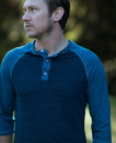 US Blanks US0777OD Adult Overdyed 3/4 Sleeve Tri-Blend Henley