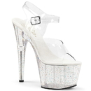 Pleaser ADORE-708MG Platform Ankle Strap Sandal Featuring Mini Iridescent Glitters on the Entire Platform Bottom