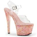 Pleaser CRYSTALIZE-308TL Platform Ankle Strap Sandal Featuring Pink Multi Crystal Tiles Covering Entire Platform Bottom