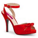 Pleaser Pink Label EVE-01 Concealed Platform Peep Toe Ankle Wrap Sandal W/ Bow